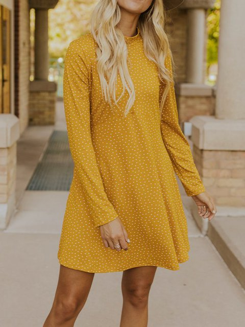 A-Line Long Sleeve Dress Polka Dot Print Dress