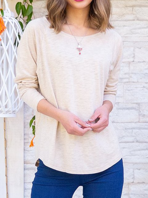 Plain Long Sleeve Scoop Neckline Shirts & Tops