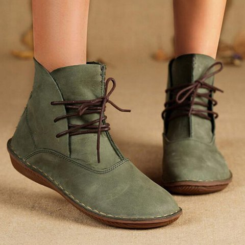 Lace-Up Flat Heel Daily Artificial Leather Boots