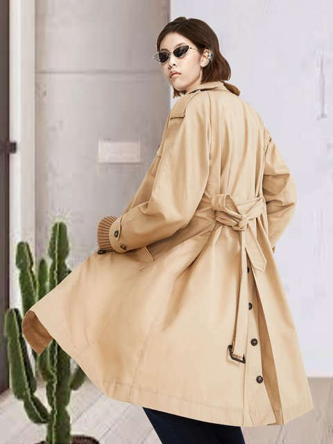 Khaki double-breasted lace-up trench coat
