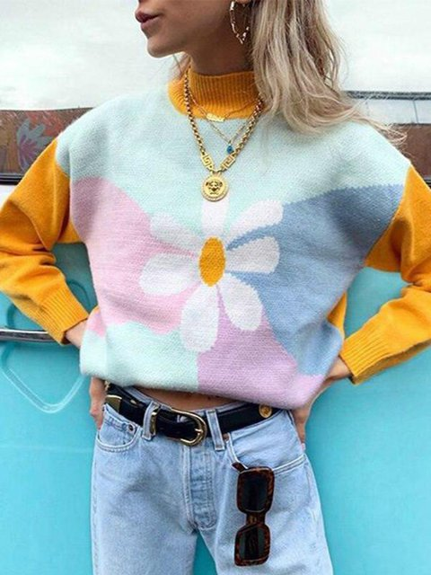 Yellow Long Sleeve Crew Neck Acrylic Floral Sweater