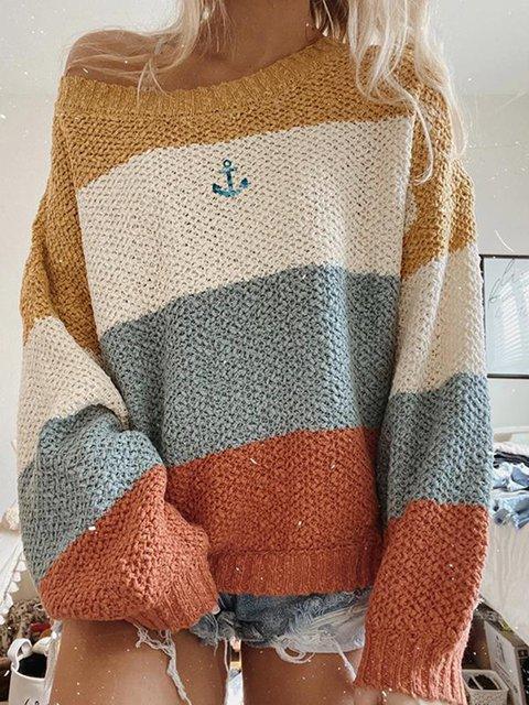 Yellow Plain Long Sleeve Sweater
