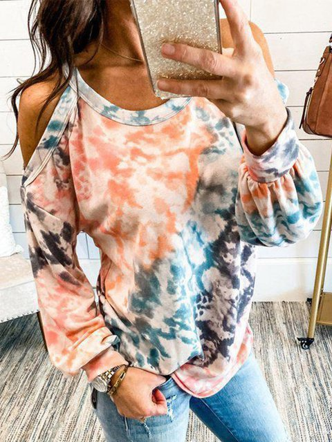 Multicolor Ombre/tie-Dye Long Sleeve Shirts & Tops