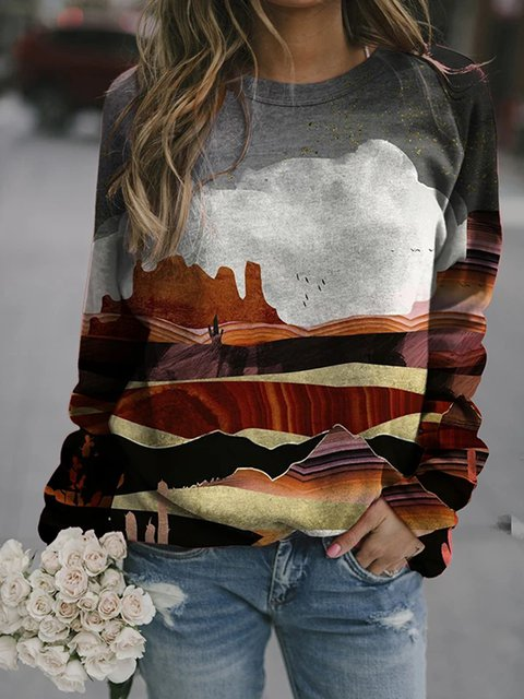 Brown Printed Shift Long Sleeve Shirts & Tops