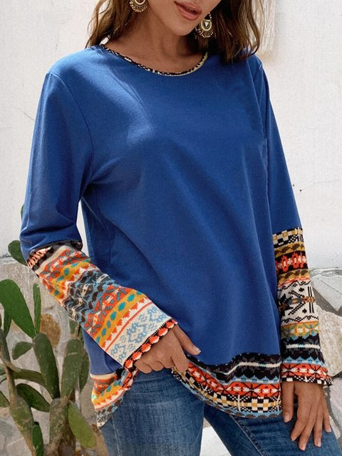 Patchwork Crew-neck Long Sleeve Casual Blouse Tops
