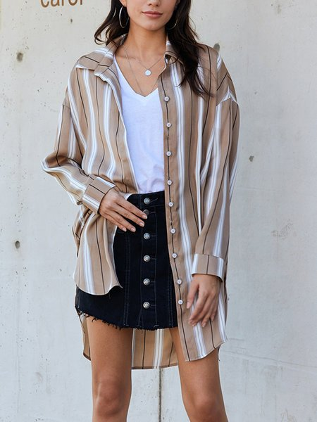 Khaki Casual Striped Shirts & Tops
