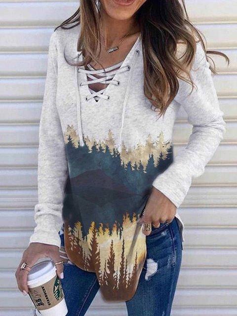 Gray Lace-Up Printed  Casual V Neck Sweatshirt