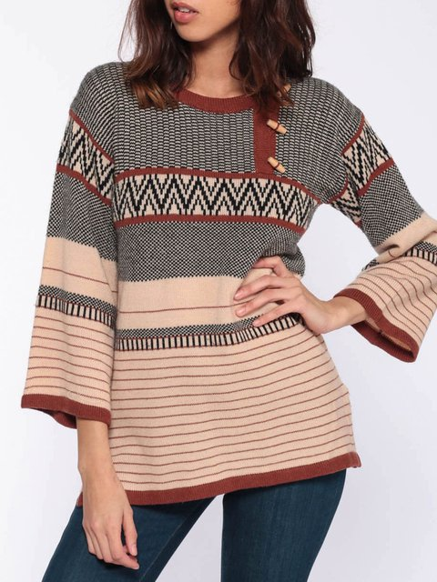 Knit Pullover Boho Hippie Tan Brown Wide Sleeve Striped Sweater Pullover