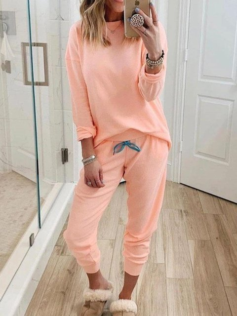 Pink Casual Two Piece Suits