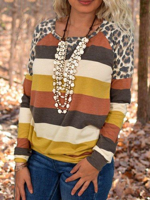Multicolor Leopard Crew Neck Casual Shirts & Tops