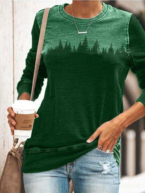 Color-Block Abstract Long Sleeve Sweatshirt