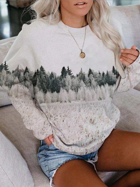 White Printed Long Sleeve Zipper Sweatshirt
