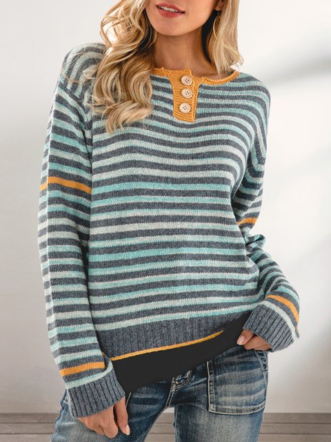 Blue Color-Block Striped Casual Crew Neck Sweater