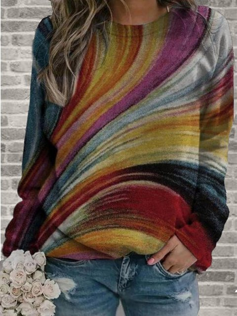Multicolor  Long Sleeve Crew Neck Printed Sweatshirt