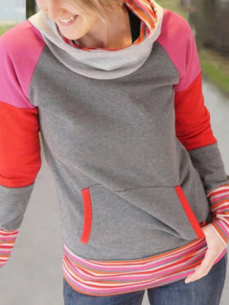 Gray Hoodie Printed Shift Long Sleeve Stripes Color Block Sweatshirt