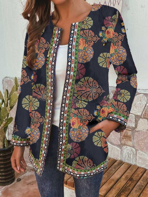 Vintage Print Loose Long-sleeved Coat Cardigan
