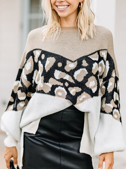 Leopard Casual Leopard Shift Crew Neck Sweater