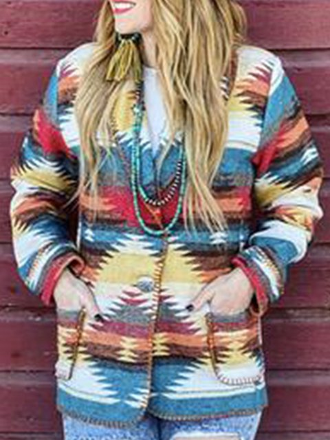 Multicolor Casual Cotton-Blend Tribal Sweater