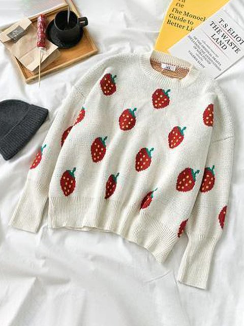 Strawberry White Crew Neck Long Sleeve Sweater