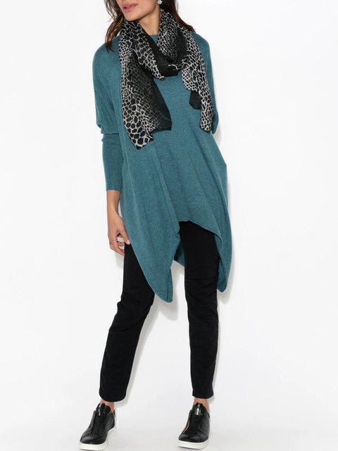 Teal style asymmetric knitted sweater