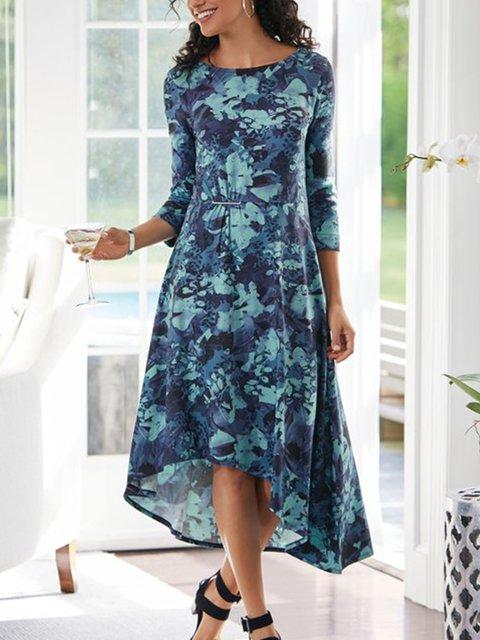 Blue Shift Floral Casual Crew Neck Dresses