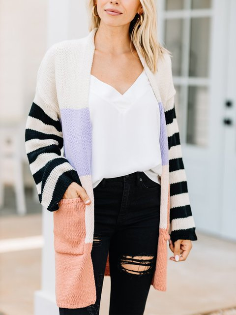 Casual multicolor colorblock cotton blend sweater and pocket cardigan