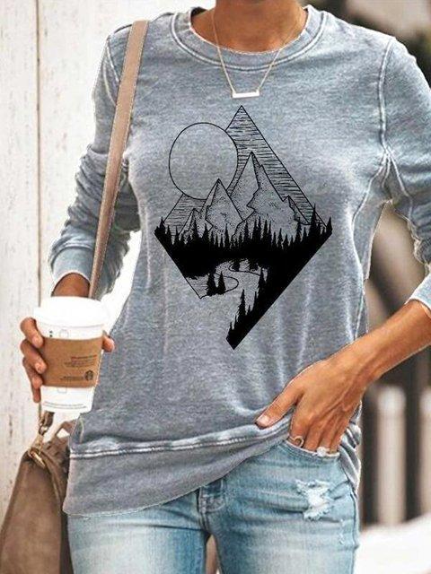 Ladies mountain scenery printing sweatshirt