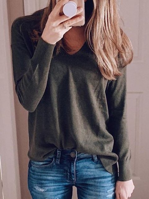 Olive Green Long Sleeve V Neck Plain Shirts & Tops