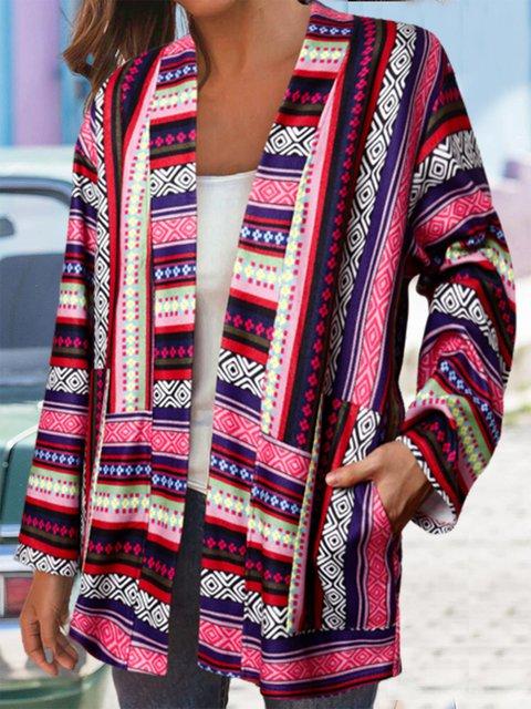 Vintage Striped Print Patchwork Long Sleeve Jackets