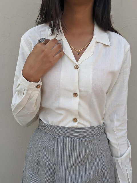 Casual Buttons V-neck Long Sleeve Shirt