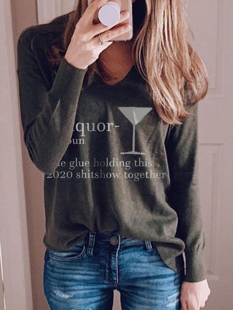 Olive Green Casual Shift Letter Shirts & Tops