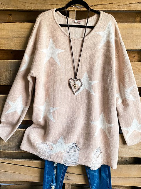 Stars Print Round Neck Casual Ripped Hem Sweater