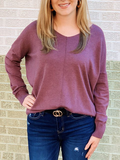 V-neck Loose Solid Color Long Sleeve Sweater