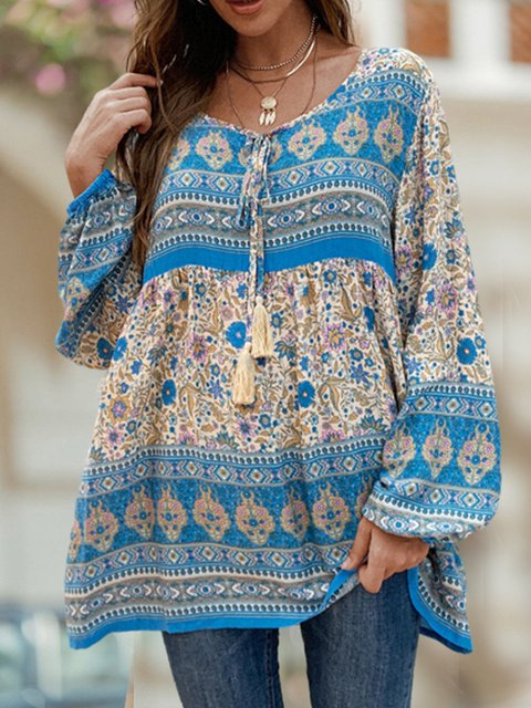 Bohenmia Print Pleated Long Sleeve Round Neck Blouse