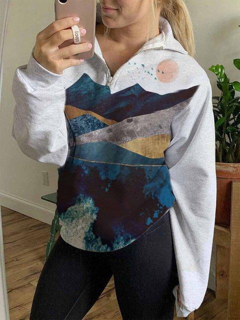 Women's mountain sunrise zipper Sweatshirt