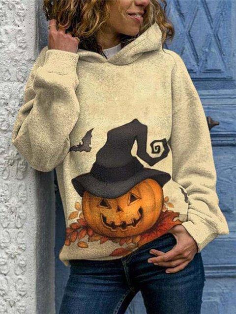 Women's casual Halloween print hooded sweatshirt