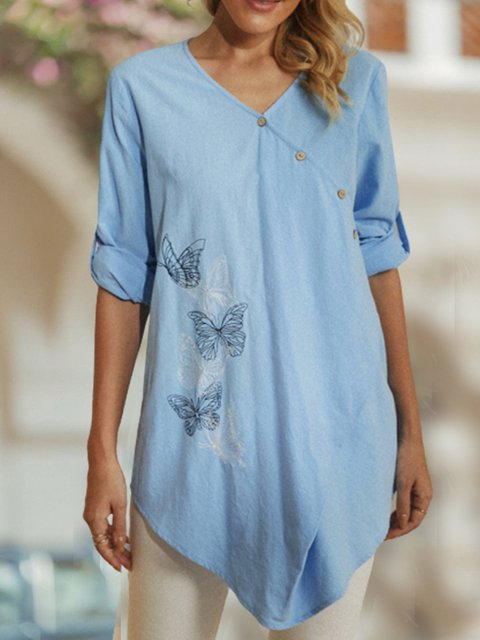Butterfly Print V-neck Button Long Sleeve Irregular Hem Blouse