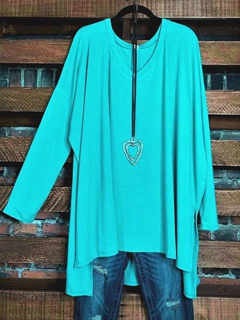 Solid Color V-neck Long Sleeve Casual T-shirt