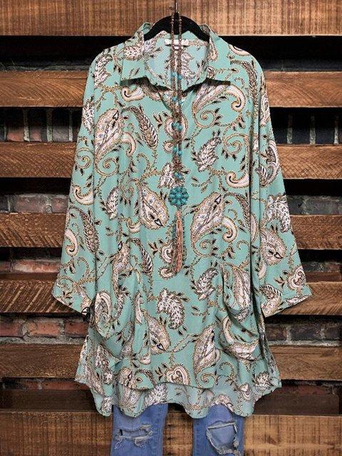 Paisley Print Loose Casual Pocket Shirt