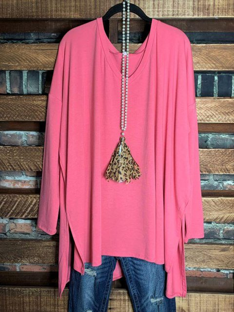 V-neck Solid Color Casual Long T-shirt