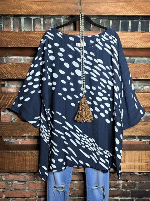Printed Round Neck Casual Long-sleeved T-shirt