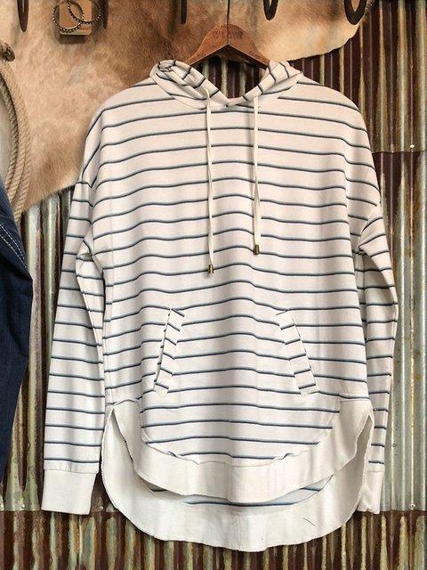White Striped Cotton-Blend Long Sleeve Sweatshirt