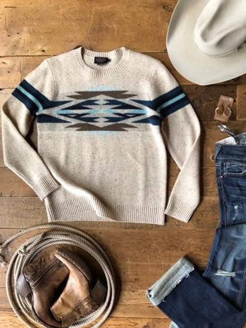 Apricot Long Sleeve Acrylic Crew Neck Tribal Sweater