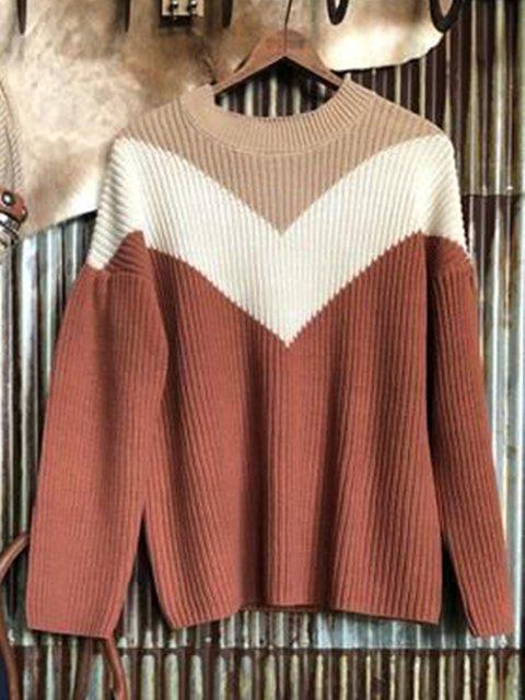 Brown Casual Acrylic Sweater