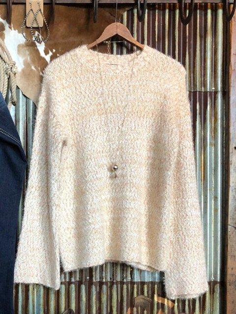 Apricot Acrylic Plain Casual Crew Neck Sweater