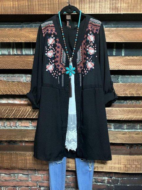 Black Ethnic V Neck Long Sleeve Floral-Print Dresses