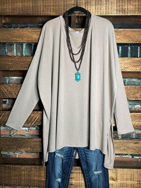 Apricot Casual Long Sleeve V Neck Cotton-Blend Shirts & Tops