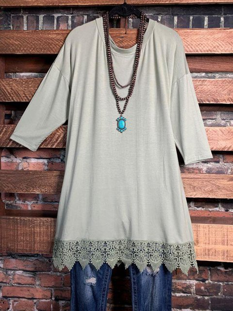 Lace Stitching Round Neck Solid Color Long T-shirts
