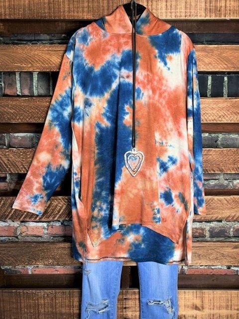 Orange Casual Ombre/tie-Dye Cotton-Blend Sweatshirt
