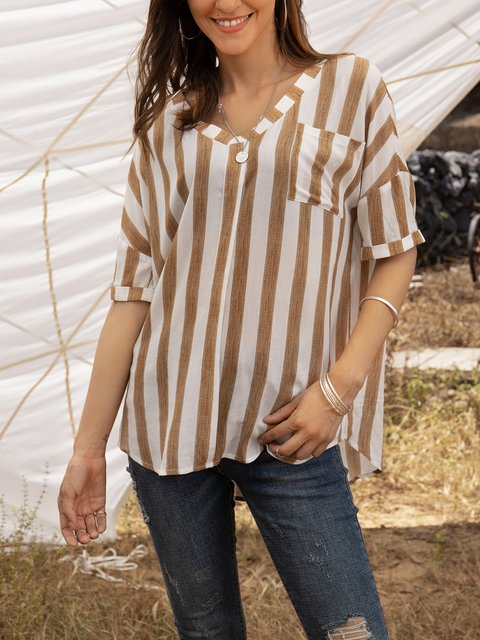 Apricot Cotton-Blend Casual Striped Shirts & Tops